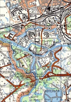 Abbildung 10: Brest-Litowsk in der sowjetischen topographischen Karte, Maßstab 1:50.000, Blatt N-34-144-G ????? (Brest), 1986.