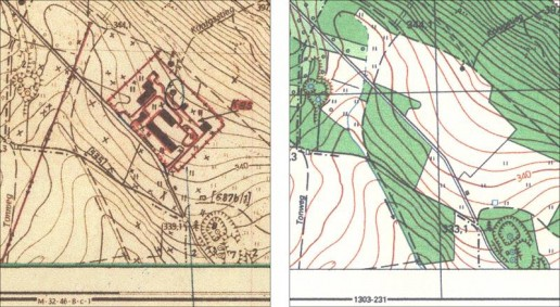 Abb. 11: Kartenausschnitt aus der gezeichneten Tarnungsvorlage  für das Blatt M-32-46-B-3 im Maßstab 1:10.000. Abb. 12: Ausschnitt aus der Topographischen Karte 1:10.000 (Ausgabe für die Volkswirtschaft), Blatt 1303-213 (Gotha-Siebleben O).