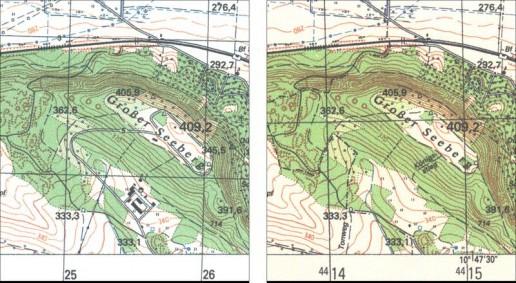 Abb. 13: Ausschnitt aus der Topographischen Karte 1:25.000 (Ausgabe Staat), Blatt M-32-46-B-a (Gotha O). Abb. 14: Ausschnitt aus der Topographischen Karte 1:25.000 (Ausgabe für die Volkswirtschaft), Blatt Gotha O.