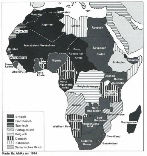 Abbildung 1: Afrika um 1914: Berg/Selbmann 1988: 333