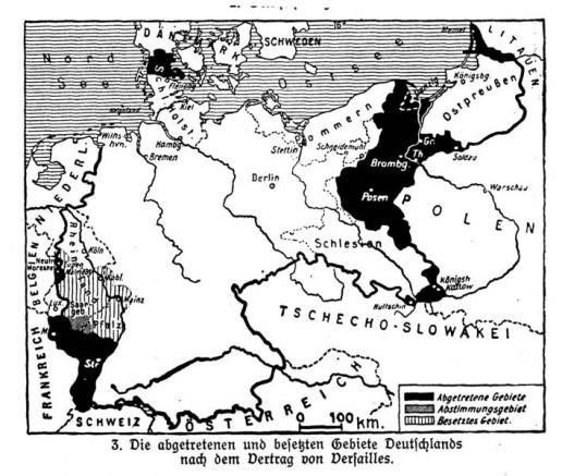 """Abbildung 1: """"Die abgetretenen und besetzten Gebiete Deutschlands nach dem Vertrag von Versailles"""", aus: E. von Seydlitzsche Geographie für höhere Lehranstalten. 1. Heft: Das Deutsche Reich (1929:4)"""
