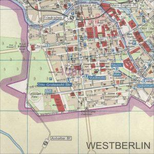 Abbildung 1: Stadtplan Hauptstadt der DDR. Westberlin als weiße Fläche, unbewohntes Gebiet also, aber gut mit einer S-Bahn erschlossen und durch Übergangsstellen zugänglich. VEB Tourist Verlag 1988.