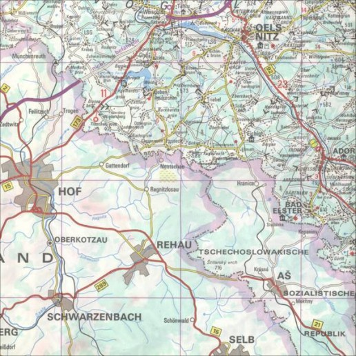 """Abbildung 2: Grenzgebiet der DDR. Bundesrepublik Deutschland und CSSR sind mit einer """"verdünnten"""" Landschaft ausgestattet. Reise- und Verkehrskarte 1:200.000, Blatt 7. VEB Tourist Verlag 1978."""