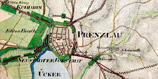 Abbildung 3: Preußisches Urmeßtischblatt (Ausschnitt aus Blatt 1236 Prenzlau).