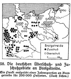 """Abbildung 3: """"Die deutschen Überschuß- und Zuschussgebiete an Brotgetreide"""", aus: E. von Seydlitzsche Geographie für höhere Lehranstalten. 1. Heft: Das Deutsche Reich (1929:79)"""