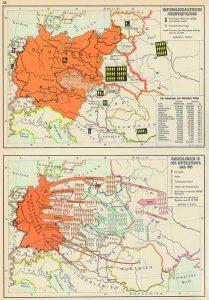 """Abb. 3: Die Welt im Spiegel der Geschichte, 15. Auflage, München 1966, S. 34: """"Nationalsozialistische Judenverfolgung. Umsiedlungen in Ost-Mitteleuropa nach 1945""""."""