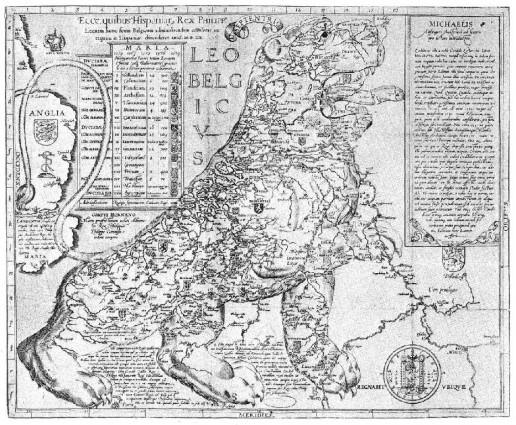 Abbildung 5: Leo Belgicus 1583 (Heijden 1990).