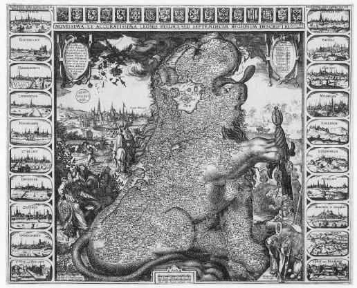 Abbildung 6: Leo Belgicus - Claes Jansz, Visscher 1611 (Levesque 1998).