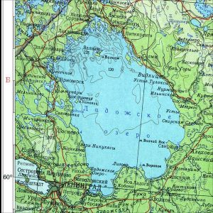 Abbildung 6: Kartenausschnitt aus dem Atlas der UdSSR, Auflage 1962: Die Städte Sestroreck und Salmi sind korrekt eingetragen.