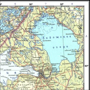 Abbildung 7: Kartenausschnitt aus dem Atlas Mira, Auflage 1967: Die Städte Sestroreck und Salmi liegen falsch östlich des 30°- bzw. des 32°-Meridians.