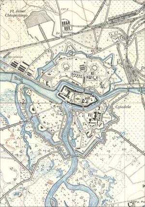 Abbildung 9: Brest-Litowsk in der amtlichen polnischen topographischen Karte im Maßstab 1:25.000. Zusammensetzung von Blatt 4037-C Brzesc und Blatt 4037-F Terespol, 1925.