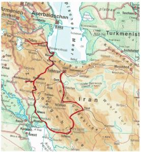 Abb. 1 Verlauf der Reiseroute durch den Iran; Karte entnommen aus: Diercke Taschenatlas der Welt, 13. Aufl., dtv, 2001, S. 104; © Westermann Gruppe